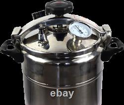 15 Quart / 14 Liter PRESSURE CANNER COOKER WITH STEAM GAUGE STAINLESS STEEL