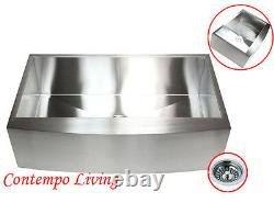 36 Stainless Steel Farm Apron CURVE FRONT Kitchen Sink