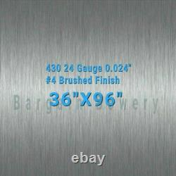 36 X 96 Stainless Steel Sheet Wall Covering #4 Brushed 24 Gauge 0.024