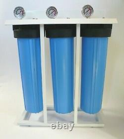 3 Stage 20 Big Blue Whole House Water Filter System, 1 NPT with 160 Gauge