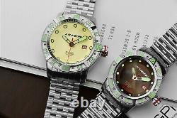 ARAGON Gauge Automatic 50mm NH35 AUTOMATIC Beige Dial Stainless Bracelet Watch