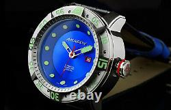 ARAGON Gauge Automatic 55mm NH35 AUTOMATIC Blue Dial withDate Leather Strap Watch