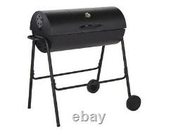 Charcoal Barrel BBQ Grill Garden Outdoor Barbecue With Cover Temperature Gauge