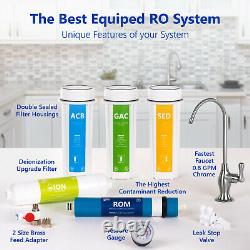 Deionization Reverse Osmosis Water Filtration System RO DI with Gauge 100GPD