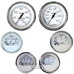 Faria Boat Marine Chesapeake Inboard Stainless Steel 6 Gauges Boxed Set White