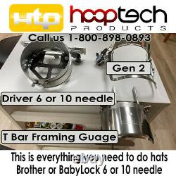 HAT DRIVER + Gen 2 HoopTech Cap Frame & T-Bar Gage Brother BabyLock all u need