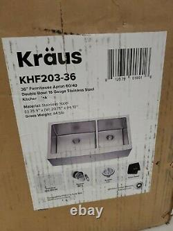 KRAUS Standard PRO 16Gauge Stainless Steel 36 in Double Bowl Farmhouse Apron NEW