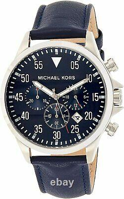 Michael Kors Gage Chronograph Blue Dial Silver Tone Leather Men's Watch MK8617 S