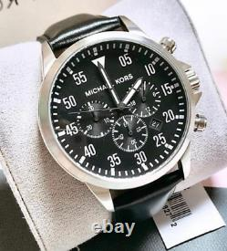 Michael Kors Men's Gage Leather Band Stainless Steel Chronograph Watch MK8442