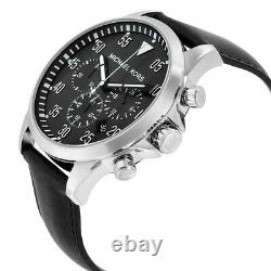 NWT Michael Kors Men's Watch Silver SS Case & Black Leather GAGE MK8442 $250
