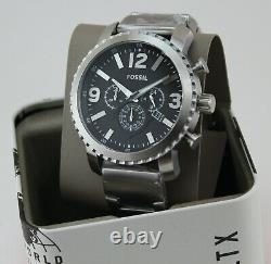 New Authentic Fossil Gage Chronograph Silver Black Men's Bq1708 Watch