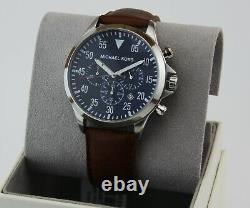 New Authentic Michael Kors Gage Blue Brown Leather Chronograph Mens Mk8362 Watch