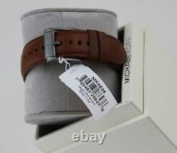 New Authentic Michael Kors Gage Grey Brown Leather Chronograph Mens Mk8536 Watch