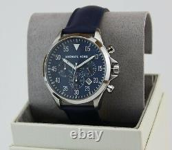 New Authentic Michael Kors Gage Silver Blue Leather Chronograph Men Mk8617 Watch
