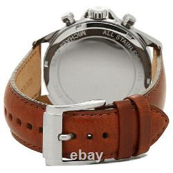 New Michael Kors Mk8362 Gage Brown Strap Blue Dial 2 Years Warranty Fast Del