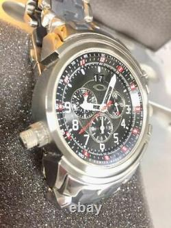 Oakley 12GAUGE watch chronograph GMT STAINLESS STEEL BRUSHED BLACK with Box
