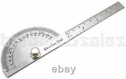 SAE Stainless Steel Rotary Protractor Angle Rule Gauge Machinist Tool NEW