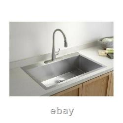 Top Mount Stainless Steel Kitchen Sink 3-Hole Handmade 16 Gauge with Drain 33 in