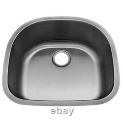 Undermount Stainless Steel D Shape Kitchen Sink with Grid and Strainer 16 GAUGE