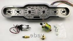 Universal 3D Stainless Steel 7 Gauge Dash Panel RED LED Gauges Made In The USA