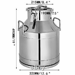 VEVOR 5.25 Gallon Stainless Steel Milk Can Tote Silicone Seal 20L Heavy Gauge
