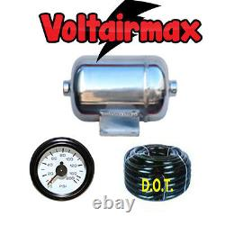V 1/2 Gal Stainless Steel Polish AirTank 2 Ports Air Ride 150-gauge Airbagit