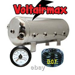 V 5 Gal Polished Stainless Steel Air Tank 8 Port AirRide 50' 3/8 Airhose/Gauge